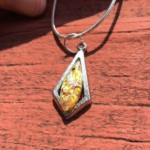 STUNNING Gold and topaz in silver setting